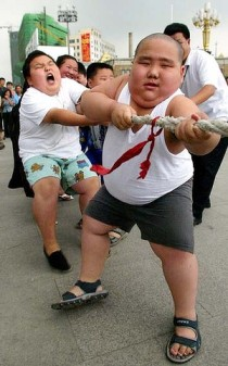 Rising tide of diabetes ... obese children participate in a tug-of-war at a boot camp in Shenyang, in northeastern China. Source - The Age, 2012