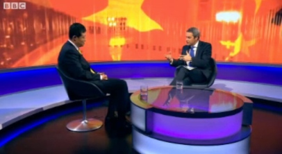 Screen capture of Chinese Ambassador Liu Xiaoming On BBC Newsnight, 2012. Please click to head onto the BBC site with the video interview