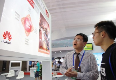 The booth of Huawei Technologies Co Ltd at the 8th China (Nanjing) International Software Product & Information Service Expo in Jiangsu province on Sept 6. Huawei, as a privately held but highly globalized company, has generated most of its sales from the world market. [Photo / China Daily]