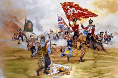 Source - Malcolm Greensmith Collection/The Image Works The capture of a Chinese Imperial Dragon Standard at the Battle of Chusan during the First Opium War. Painting by Malcolm Greensmith.